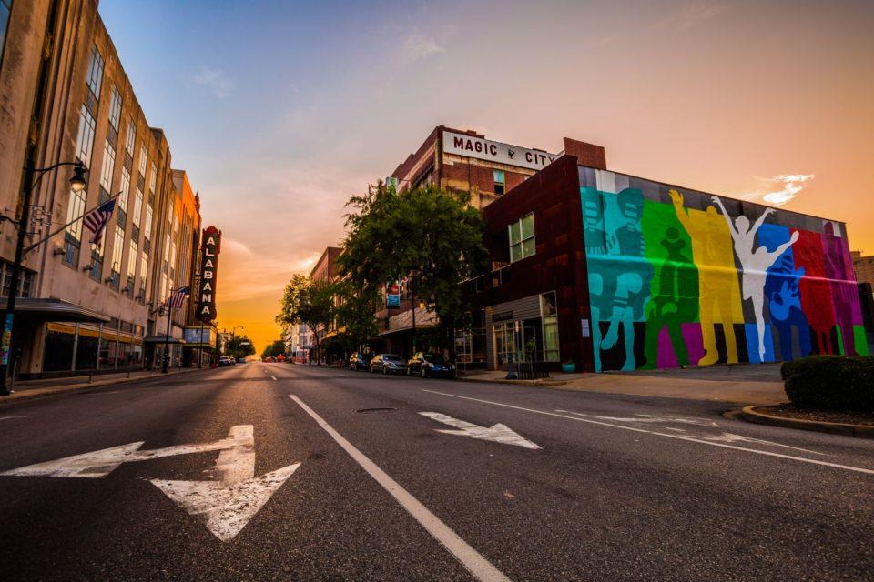 Scene overlooking Birmingham street with Vulcan statue mural