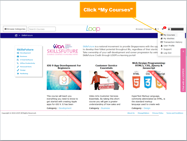 "Click ""My Courses"""