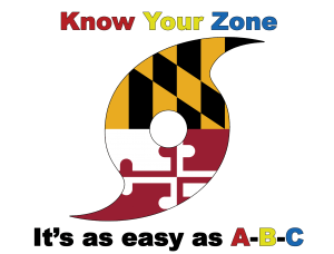 "The Know Your Zone Logo. A Hurricane Icon with the Maryland State Flag image in it. Text reads ""Know Your Zone It's as easy as A-B-C"""