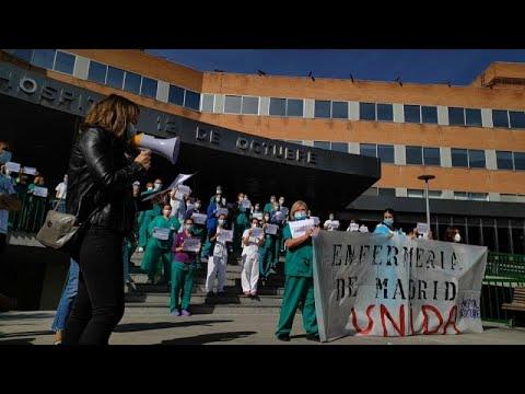 Στα όρια του είναι το νοσηλευτικό προσωπικό στα νοσοκομεία της Μαδρίτης…