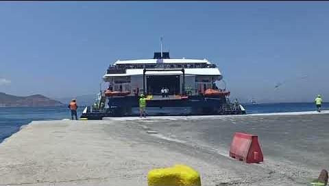 """Νάξος: Η """"πρώτη"""" του Naxos Jet στο λιμάνι της Νάξου για το 2021"""