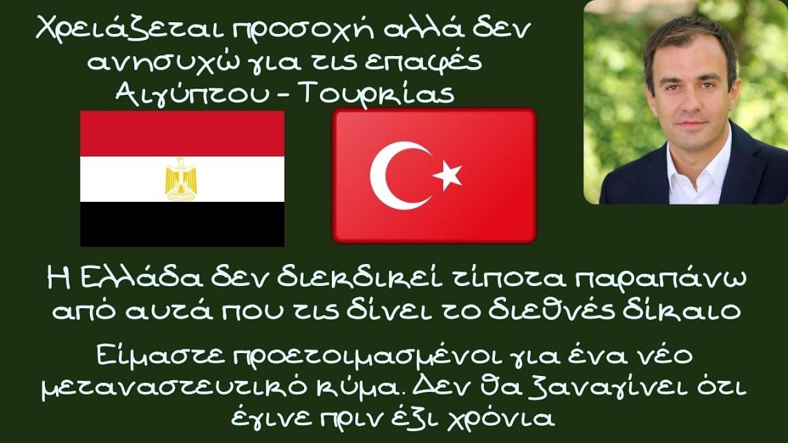 Τάσος Χατζηβασιλείου, Χρειάζεται προσοχή αλλά δεν ανησυχώ για τις επαφές Αιγύπτου – Τουρκίας