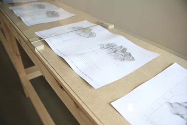 Imogen Stidworthy, Topography of a Voice, 2008-9. Copperplate and offset prints. Installation view.