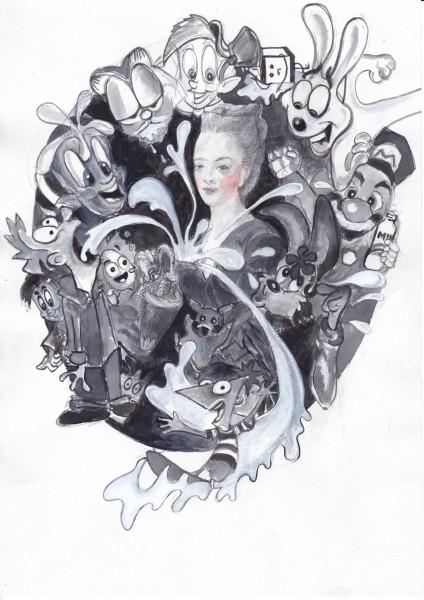 Melanie Jackson, Giving Suck: (Marie Antoinette as Hebe), 2015. Ink, graphite, watercolour on paper.