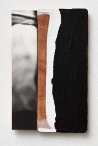 Ian McKeever, Against Architecture 21, 2013, 35 x 21cm, acrylic and oil on canvas on wood /silver gelatine photograph mounted on wood. Image courtesy of the artist and Galleri Susanne Ottesen, Copenhagen