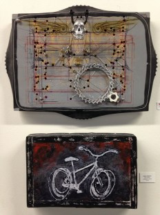 """Top: Juan Dominguez. """"Random Symmetrical Connection."""" Mixed media. Sold; Bottom: Cathy Halbach. """"Ghost Bike."""" Collage on wood. $125 (Shanley Chien/Medill)"""
