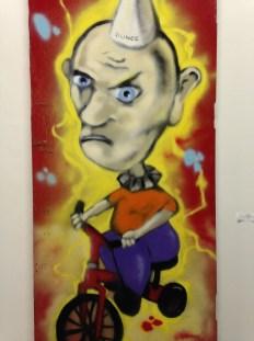 """Nixon One. """"Untitled."""" Spray paint on found door. $300 (Shanley Chien/Medill)"""