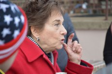 "Congresswoman Jan Schakowsky tells Hillary supporters, ""This may be the most important thing you ever do in you life,"" as she stands in a residential driveway in Davenport, IA."