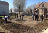 Congregation and community members helped to build community gardens after the church building was torn down. (Photo courtesy of the Kimball Avenue Church)