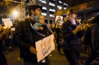 Protester and baby