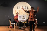 Local storyteller Gewen Hilary and musician Enoch Williamson told Chicago's founding history with an interactive performance for kids. (Wenjing Yang/MEDILL)
