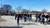 Students marching at Evanston Township High School (Ilana Marcus/MEDILL)