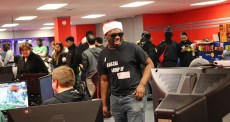 Chicago FGC podcast host Aaron Sterling competed at the lounge during a fighting game event. (Photo courtesy of Raid Gaming Lounge)