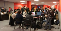 The lounge is typically packed with gamers on event nights, such as Super Saturdays, where players compete in Tekken or the newly released Dragon Ball FighterZ. (Photo courtesy of Raid Gaming Lounge)