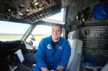 Flight Commander Justin Kirbbey in his seat in the cockpit. (Morgan Levey/MEDILL)