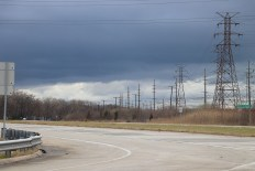 A stormy sky on the road to the Port of Indiana. (Becky Dernbach/MEDILL)