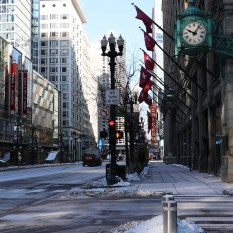 State Street in downtown Chicago looking North towards the Chicago theater