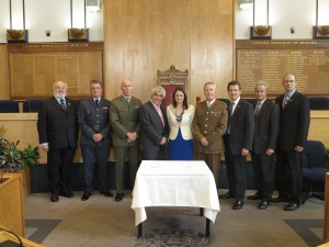 Merton Council leader, Councillor Stephen Alambritis and Mayor of Merton, Councillor Krystal Miller with armed forces personel