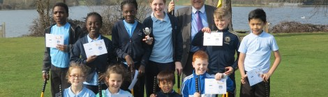 Leader of the Council, Councillor Stephen Alambritis with winning school St Teresa's RC