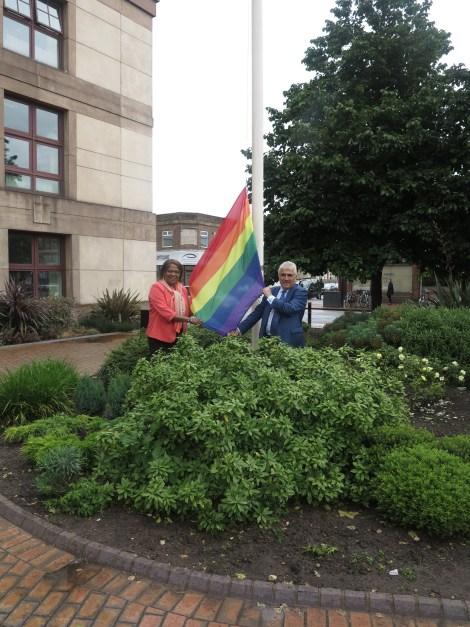 Stepehn Alambritis Edith Macauley rainbow flag