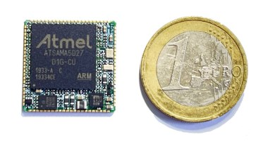 HaneSOM is a 4 cm2 Arm Linux module powered by Microchip SAMA5D2 SiP