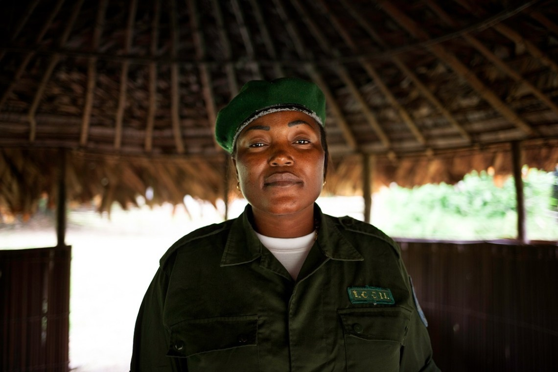 Ewing Lopongo, conservationist with the Congolese Institute for Nature Conservation (ICCN), in charge of the Monkoto sector of the Salonga National Park, in Monkoto, Tshuapa, DRC, October 2016. Photo by Leonora Baumann for Mongabay.