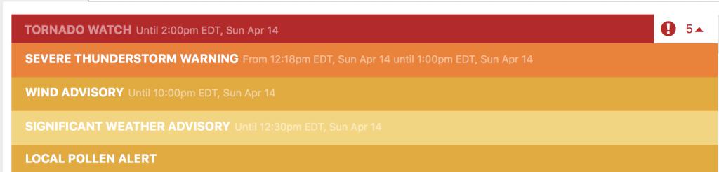 Weather Alert: Update: Local area under five weather alerts