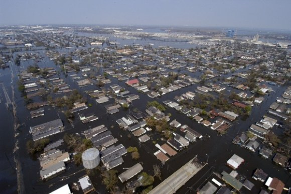 A flooded New Orleans after Hurricane Katrina.