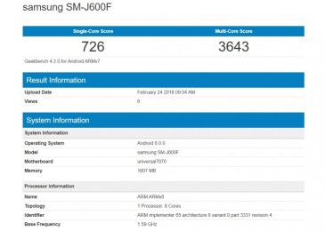 Galaxy J6 Geekbench