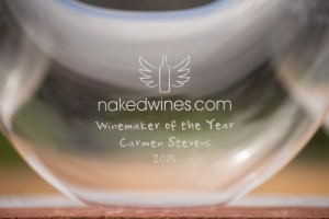 The trophy for Winemaker of the Year 2015 is an etched wine decanter