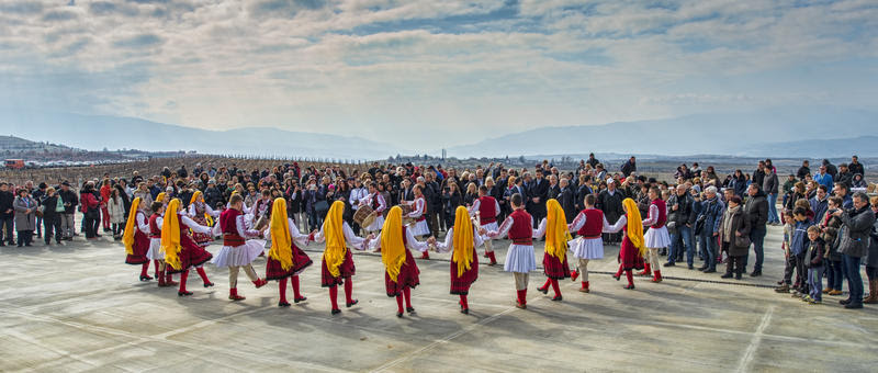Bulgarian national dance on St. Trifon Zarezan Day