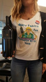 Nicole's awesome Matt Parish tshirt for winemaker of the year