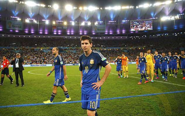 Messi is left dejected after the 2014 final, which Argentina lost after extra time to Germany