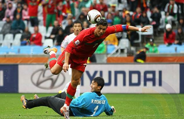 Ronaldo scores his only goal of the 2010 World Cup, a scrambled effort against North Korea