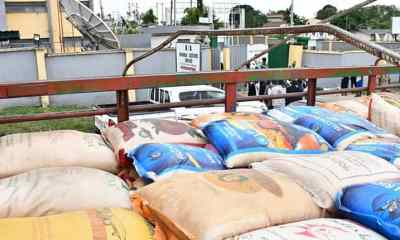 PHOTO: Arial View of The Returned Rice in Truck | Oyo/Osun Command Rejects Alleged Spoilt Rice by Oyo State Government.
