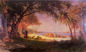 "time to stop networks running on sugar ""The Landing of Columbus"" — by Albert Bierstadt; 1893"