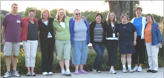 photo of walking club, 10 people in active wear