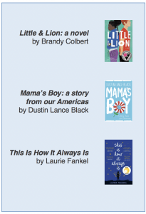 Image of three book covers, titles, and authors