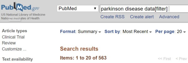 Sample PubMed search using data[filter]