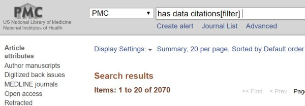 PubMed Central Sample Search using has data citations[filter]