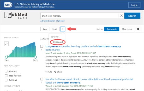screenshot of the adding items feature on the pubmed labs page