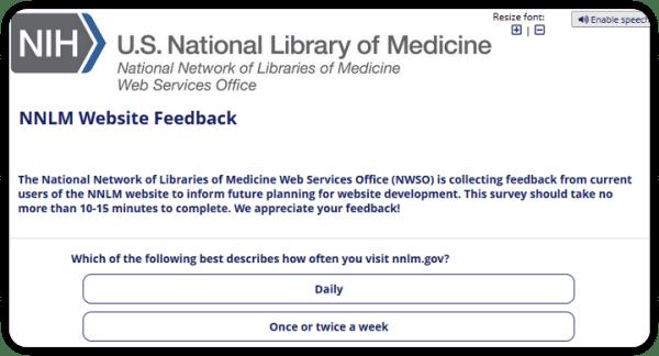 screenshot of NNLM Website Feedback Survey