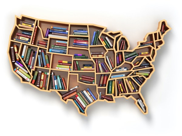 a bookshelf shaped like the United States map