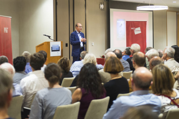 In a talk Tuesday night at the Massachusetts Institute of Technology, Northeastern President Joseph E. Aoun said everyone in the audience would one day find their jobs obsolete—unless they dedicate themselves to lifelong learning. Photo by Adam Glanzman/Northeastern University
