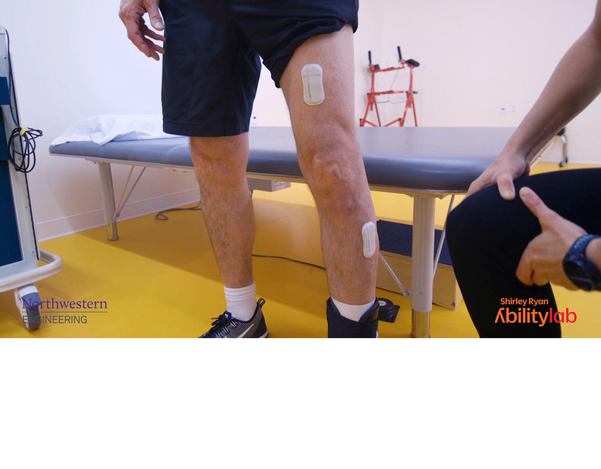 <span>Bandage-like sensors on man's legs</span>