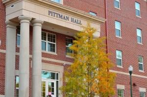 The entrance of Pittman Hall