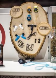 Tags on wood.