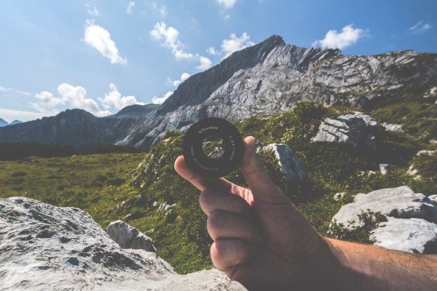 Camera lens in mountains