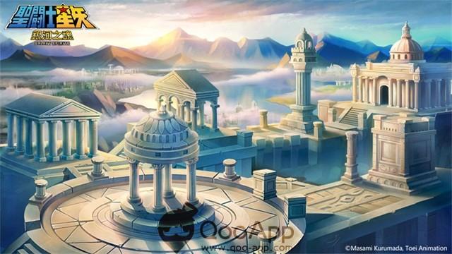 圖四、經典的「黃金十二宮前宮」,雄偉的希臘聖域神殿,化身為關卡場景
