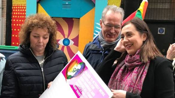 Sinn Fein's Caral Ni Chuilin, left, Gerry Kelly and Megan Fearon launch the party's marriage equality pledge in Belfast